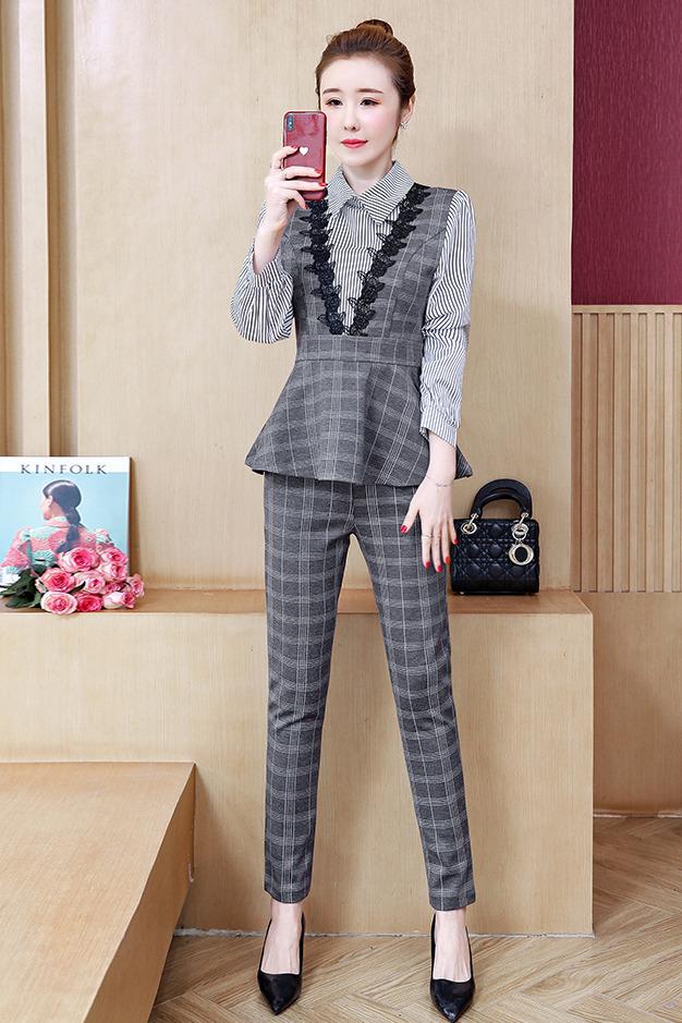 2020春装新款格子拼接条纹荷叶摆上衣+显瘦裤子两件套