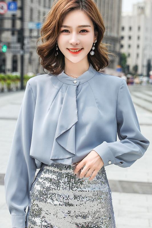 实拍雪纺衫女领带设计感小众立领长袖打底衫2019秋季新款百搭衬衫