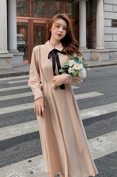 实拍~~2020春季新款法式复古风连衣裙长袖气质女神范衣服