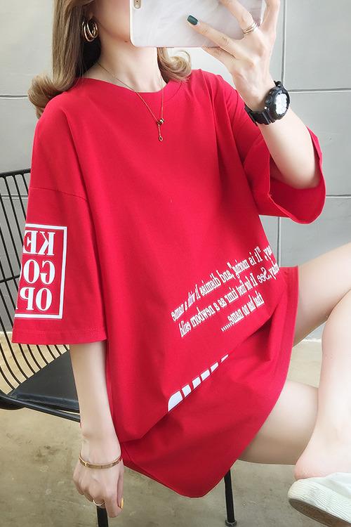 实拍~夏装新款胖mm短袖t恤宽松显瘦纯棉大码上衣200斤 95棉5氨纶
