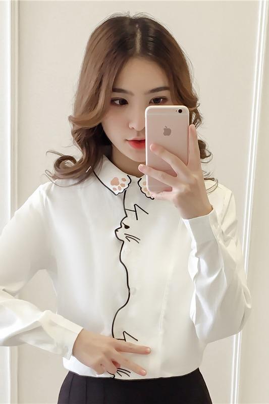实拍现货 2020春季新款可爱猫咪刺绣韩版宽松学院风白色长袖衬衫