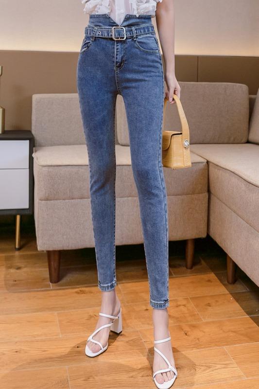 实拍9928#春季新款韩版铅笔裤牛仔裤女高腰紧身弹力小脚裤长裤
