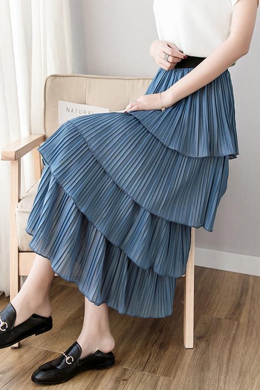 ins超火蛋糕裙2020新款韩版松紧腰中长款半身裙学生高腰百褶裙女