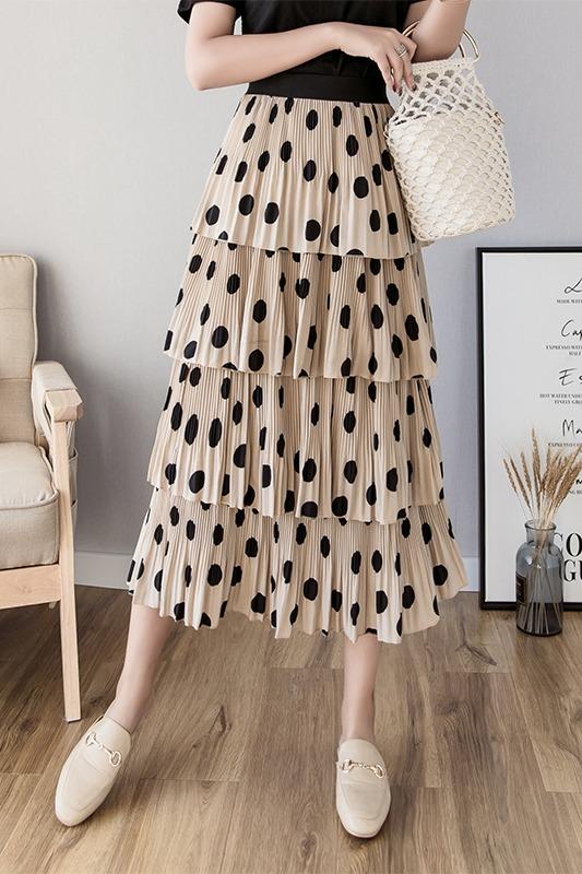 ins超火蛋糕裙女2020春夏新款半身裙雪纺仙女裙A型波点中长款裙子