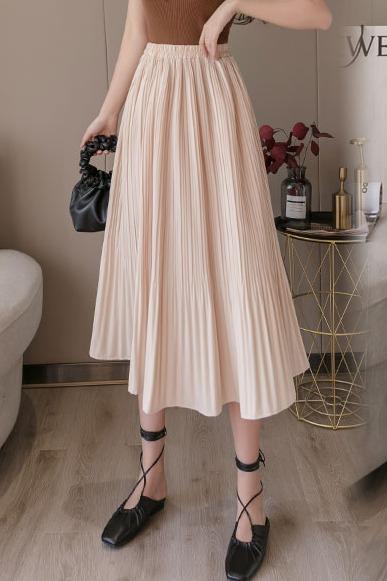 半身裙2020春夏新款宽松遮胯洋气大摆裙中长款纯色百搭百褶裙子女