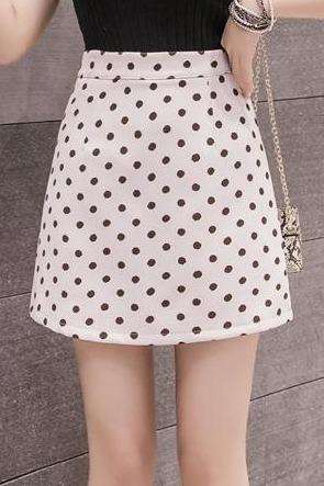 波点半身裙2020春夏新款韩版显瘦A字裙复古高腰港味包臀短裙百搭