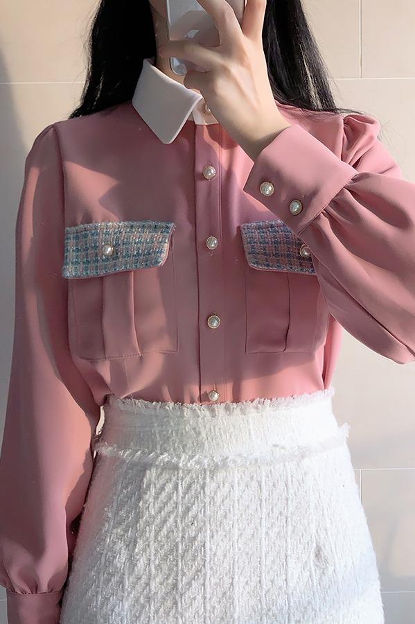 拼色格子翻领珍珠单排扣口袋长袖衬衫 大货已出 已质检