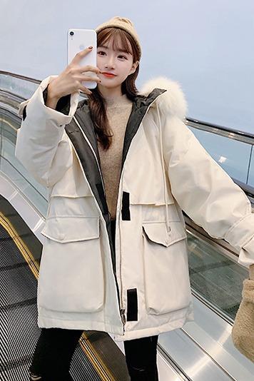 实拍新款东大门羽绒服女中长款工装收腰加厚时尚魔术贴外套