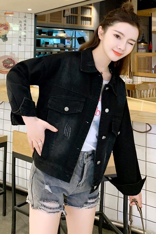 实拍#牛仔短外套女短款2020春季新款宽松夹克chic印花显瘦外套潮