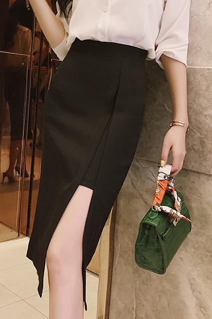 实拍黑色开叉半身裙女2020新款中长款高腰包臀裙OL显瘦职业一步裙