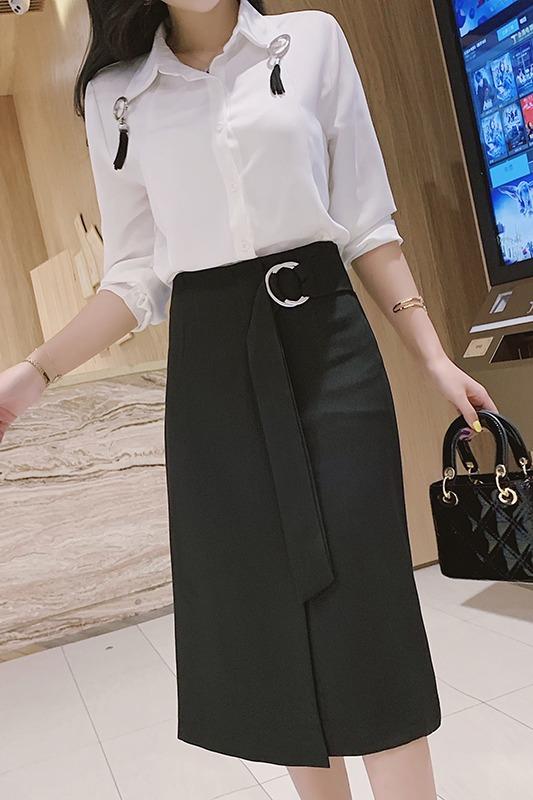 实拍 长裙女春装2020高腰不规则开叉中长款一步裙包裙a字裙半身裙