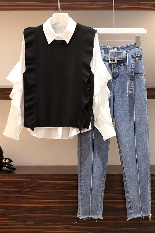 2020春装新款减龄显瘦大码女装胖妹妹洋气衬衫网红套装牛仔裤7778
