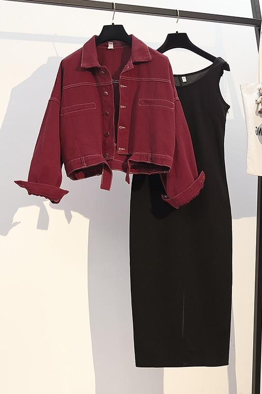 春装2020年新款大码女装胖妹妹网红显瘦外套打底连衣裙两件套7758