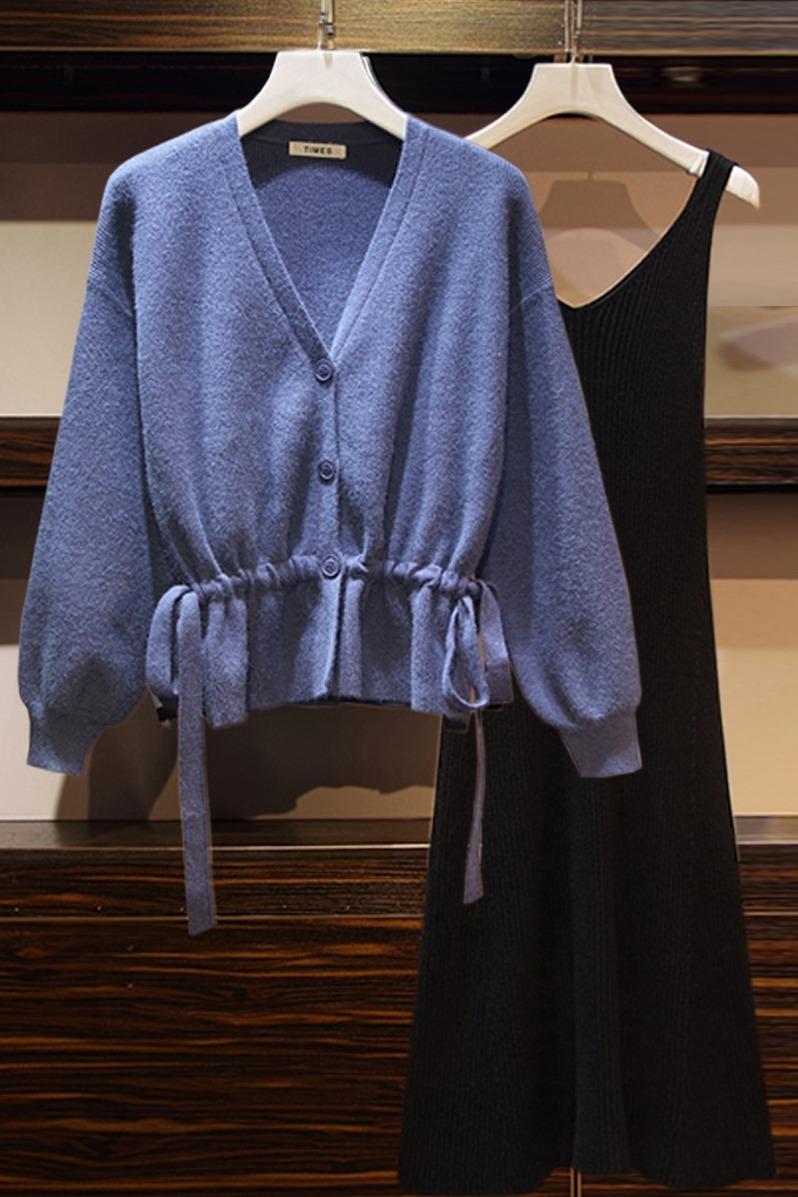 实拍春装2020新款大码女装微胖洋气套装时尚遮肉连衣裙两件套7150