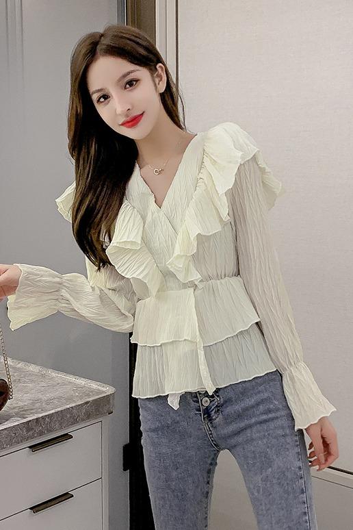 实拍2020春季新款韩版纯色荷叶边V领套头长袖衬衣女打底衫上衣