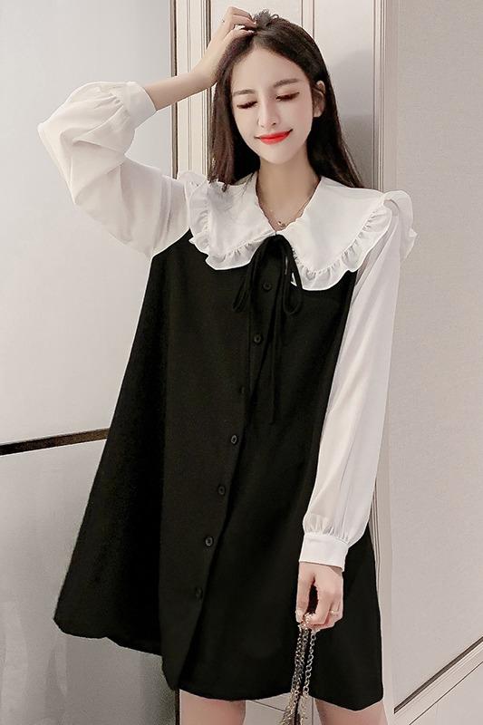 实拍2020春季新款韩版气质荷叶娃娃领拼接假两件衬衣连衣裙女