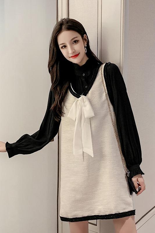 实拍2020春季新款韩版洋气衬衫+宽松A字背心裙两件套连衣裙女
