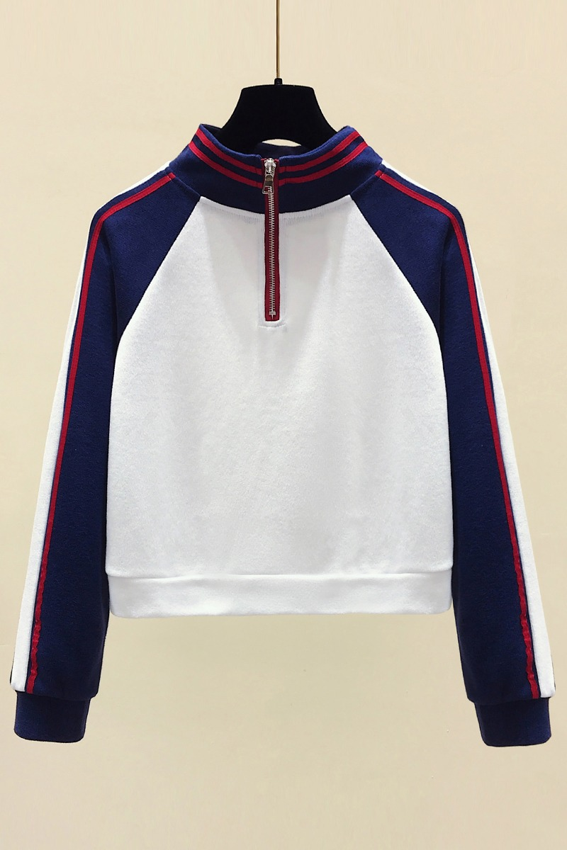 2020早春实拍立领半拉链卫衣韩版拼色短款插肩袖网红运动上衣外套