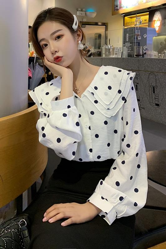 【实拍】2020春季灯笼袖波点衬衫韩版时尚宽松百搭长袖上衣3016