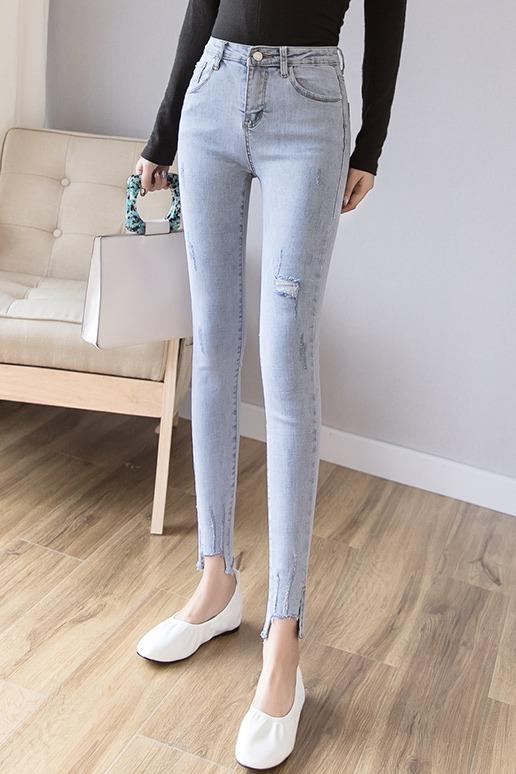 实拍现货2020新版多色裤脚开叉流苏不规则流苏显瘦高弹铅笔牛仔裤