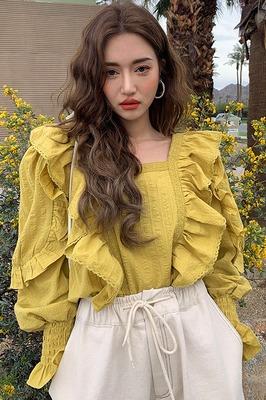 韩国chic宫廷风方领荷叶花边拼接衬衣百搭后背系带镂空泡泡袖衬衫