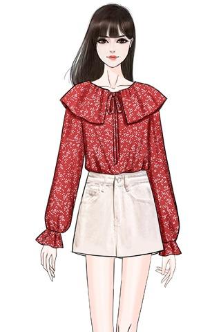 实拍春季新款娃娃领雪纺衫碎花衬衫上衣+牛仔短裤两件套套装