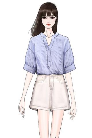 2020春夏季新款套装裙很仙的衬衫上衣+牛仔卷边短裤时尚两件套装