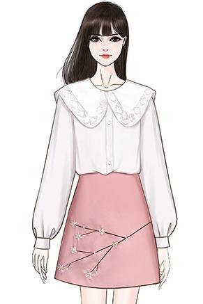实拍2020春装新款学生蕾丝边宽松衬衣套装女学院风半身裙两件套