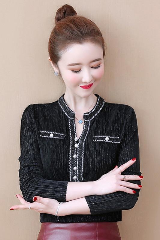 实拍2020春季新款拼接花边设计感打底衫复古气质显瘦小衫女装潮