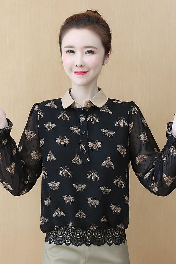 实拍2020印花衬衫女春款设计感小众时尚大码娃娃衫潮洋气打底衬衣