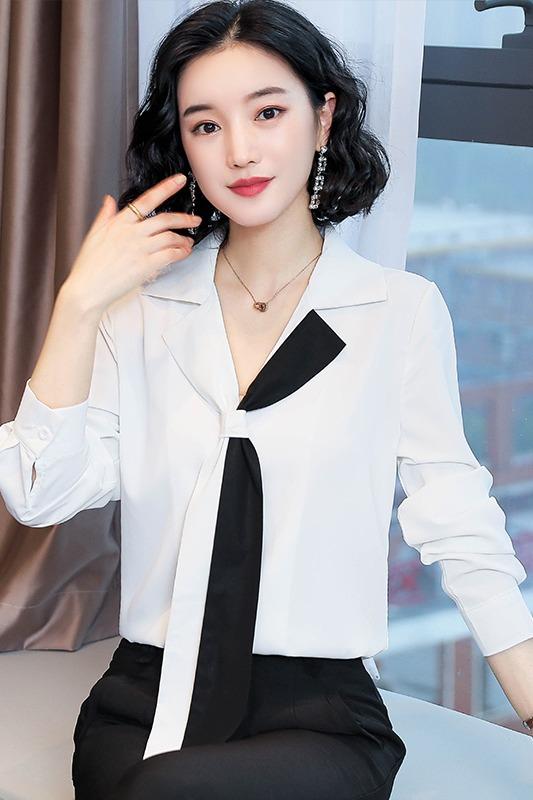 实拍法式雪纺白色衬衫女设计感小众轻熟女士衬衣v领领带职业上衣