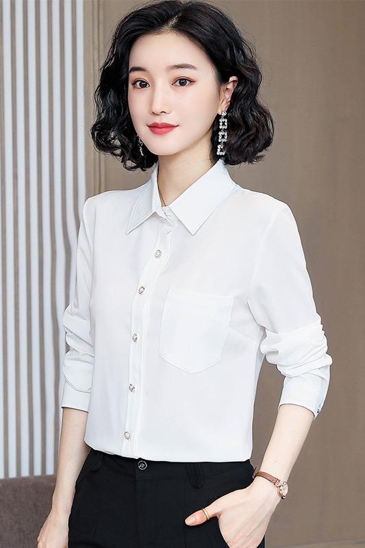 实拍2020春新款百搭白色衬衫女设计感小众长袖打底衫洋气雪纺上衣