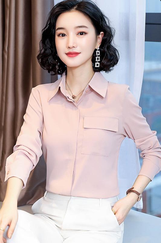实拍2020春季新款欧货长袖衬衫设计感小众仿真丝上衣女