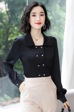 实拍2020春季衬衫女设计感小众心机洋气时尚光泽感百搭缎面上衣