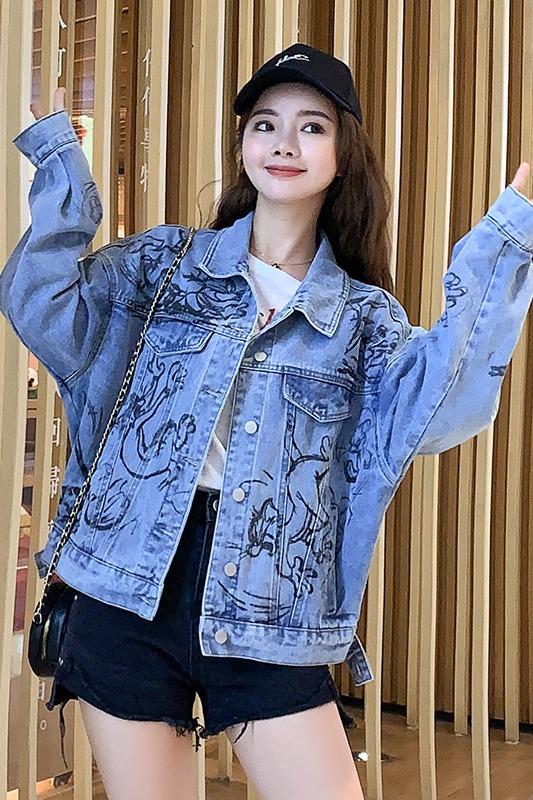 实拍2020新季新款牛仔短外套女上衣手绘印花卡通米奇汤姆猫韩版潮