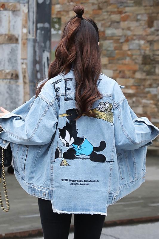 实拍2020春季新款牛仔外套女情侣装菲力猫卡通刺绣夹克宽松学生潮