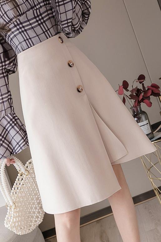 实拍+视频+三标 设计感高腰半身裙2020春季遮跨职业裙显瘦A字裙OL
