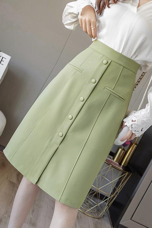 实拍+三标 韩版春季高腰遮跨包臀裙2020过膝开叉一步职业半身裙OL
