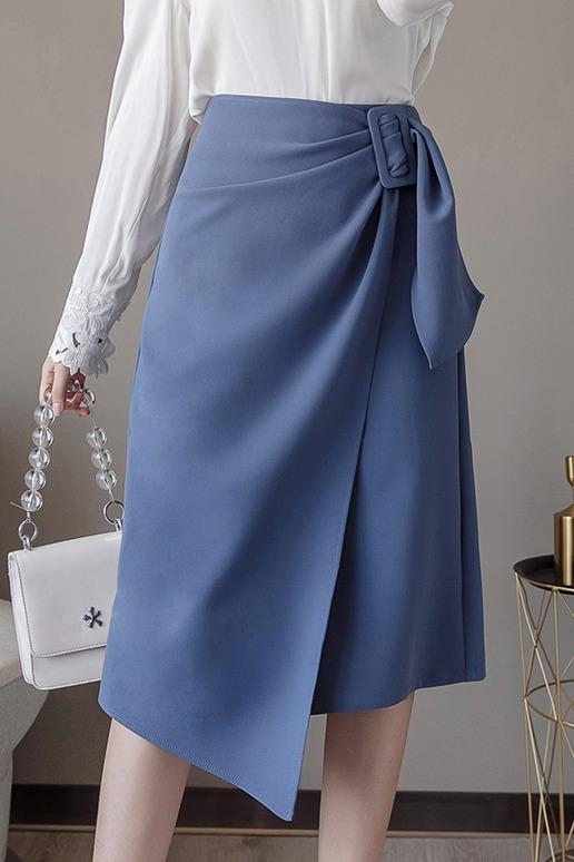 实拍+视频+三标 设计感不规则半身裙2020春季高腰开叉OL包臀裙女