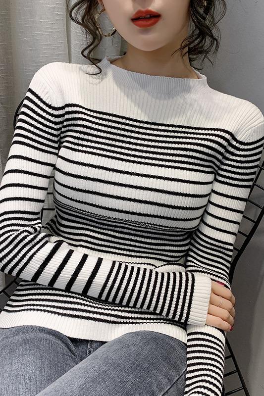 2020早春新款圆领条纹针织衫女加厚洋气韩版修身显瘦长袖打底衫女