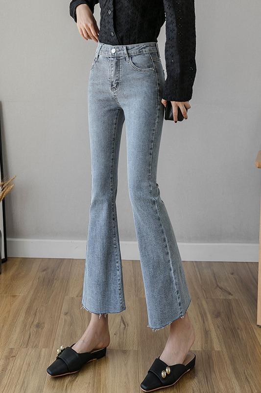 实拍2020春季新款牛仔裤女微喇气质修身韩版九分裤弹力贴身显瘦