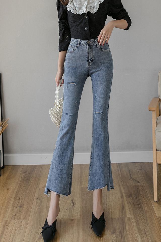 实拍2020春季新款牛仔裤女微喇叭九分裤弹力高腰显高显瘦气质百搭