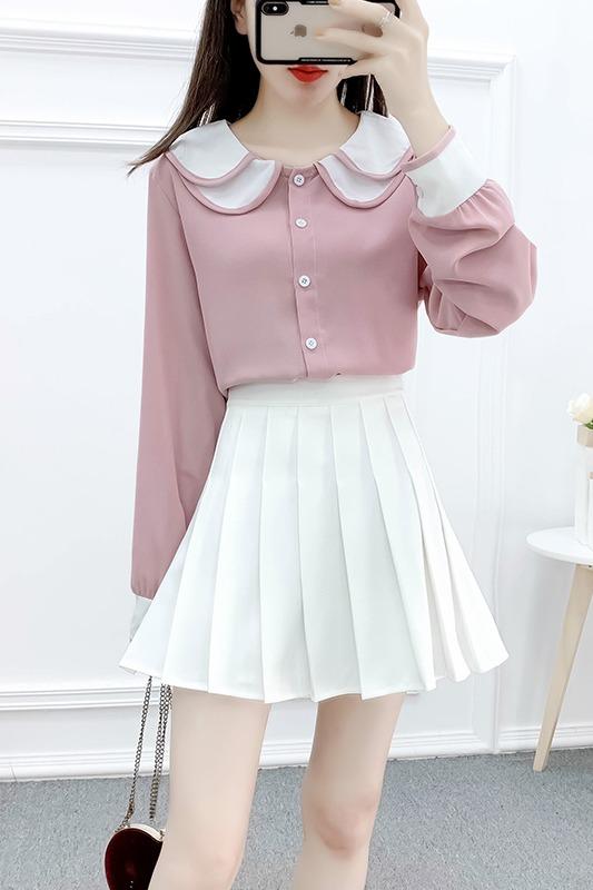 实拍初春新款甜美学院风洋气套装拼接翻领雪纺衫百褶半身裙两件套