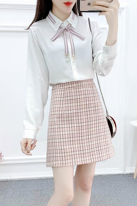 实拍初春甜美学院风俏皮套装系带拼接雪纺衫显瘦格子半身裙两件套