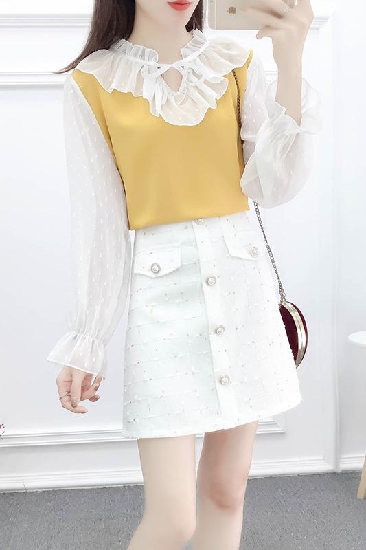 实拍早春很闲的洋气套装蕾丝拼接喇叭袖雪纺衫粗花呢半身裙两件套