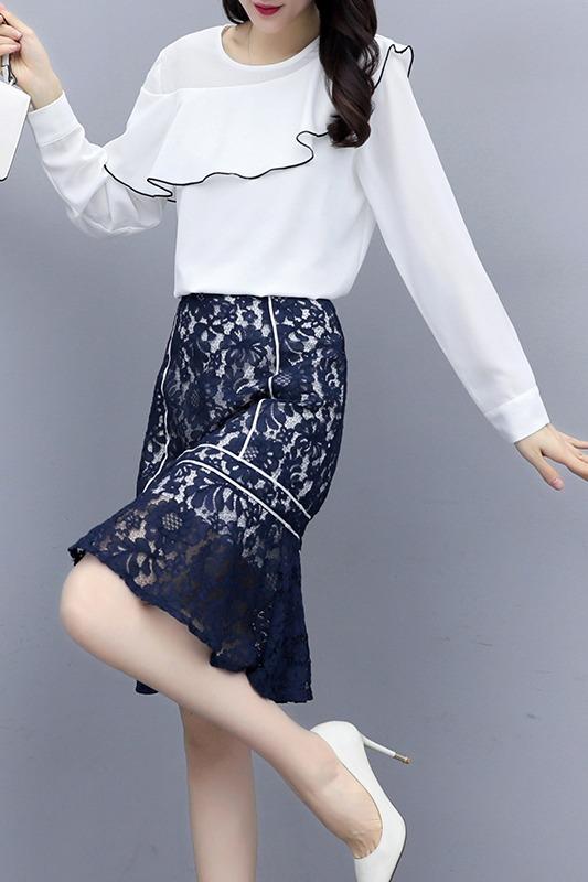 实拍2020春夏新品韩版蕾丝两件套长袖衬衣半裙套装女