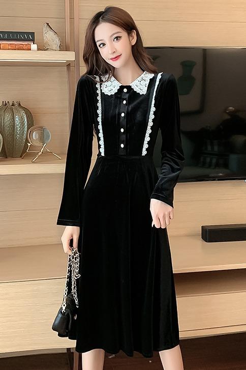 实拍 7021# 韩版修身显瘦长袖连衣裙绒面拼接中长款收腰长裙