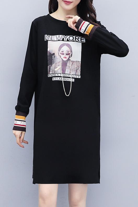 7951#实拍欧洲站2020春夏中长款T恤大码连衣裙