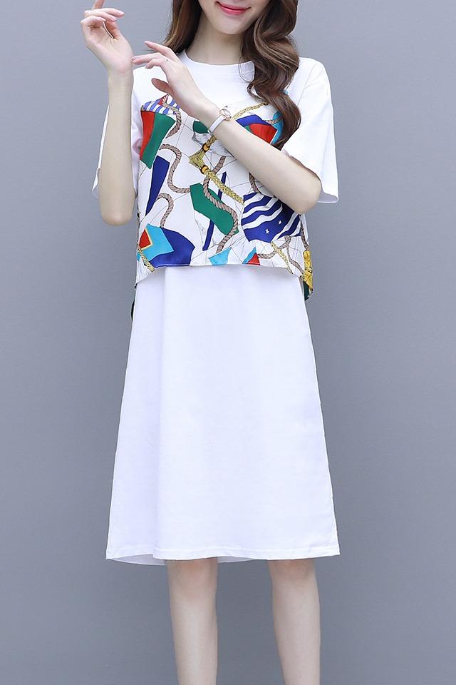 7912#实拍2020夏季撞色印花慵懒风套头假两件中长款T恤连衣裙女