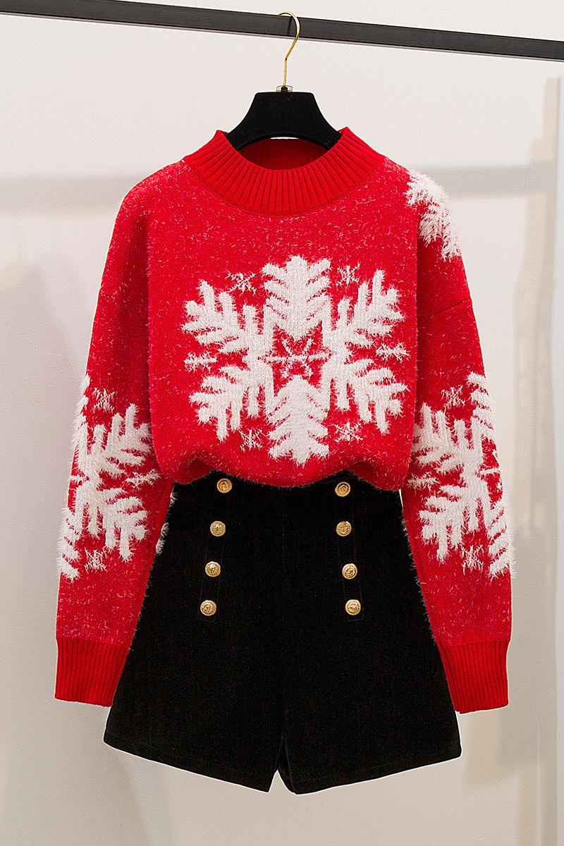 实拍红色圣诞毛衣女套头秋冬2019新款网红冬高领宽松外穿两件套装